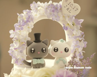 cat and  kitty Wedding Cake Topper---k889