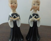 Vintage Mid Century Choir Boy and Girl  Salt and Pepper Shakers