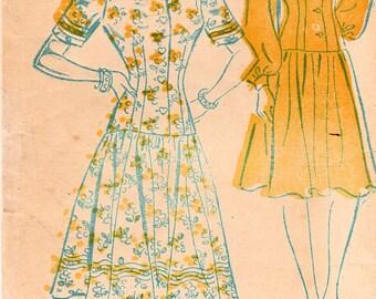 1940s New York 500 Vintage Sewing Pattern Misses Drop Waist Dress, Afternoon Dress, Cocktail Dress, Size 14 Bust 32