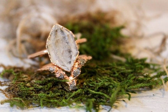 Herkimer Diamond Wedding Ring / Raw Diamond Wedding Ring Set