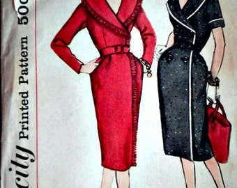 Vintage 50's Simplicity 3190 Sewing Pattern, Misses' Slenderette Wrap-Around Dress, Double Breasted Shawl Collar, Size 12, 32 Bust, 1950's