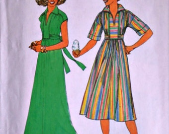 Vintage 70's Simplicity 8025 Sewing Pattern, Misses' Dress In Two Lengths, Size Small 10-12, Bust 32.5-34, 1970's Retro Boho Fashion