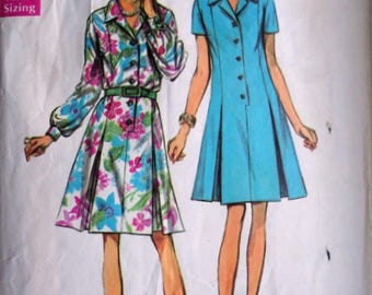 Vintage 60's Simplicity 8659 Sewing Pattern, Shirt-Dress In Half Sizes, Size 12 1/2, 35 Bust, Mad Men Mod 1960's Fashion