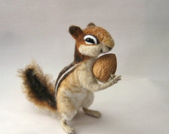 Needle Felted Chipmunk - Poseable Soft Sculpture - Ready to Ship