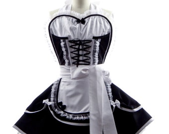 Women's Retro Apron - Sexy Corset French Maid Apron w/ Sweetheart Neckline + Circle Skirts by BambinoAmore - Bridal Gift & Hostess Aprons