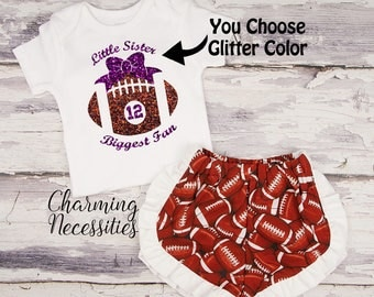 Football Sister Top and Ruffled Shorts Set, Football Fan, Baby Girl Onesie Outfit, Toddler Clothes, Little Sister Biggest Fan Personalized