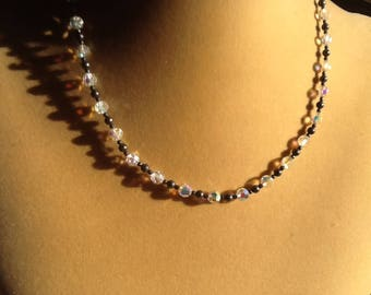 SILVER AND CRYSTAL choker necklace prom wedding