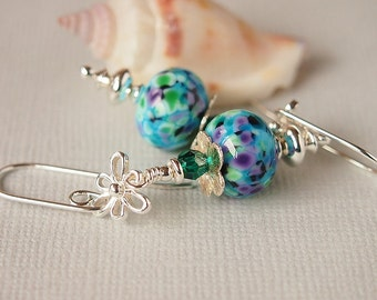 Blue Earrings, Lampwork Earrrings, Black, Turquoise, Green, Purple, Swarovski, Sterling Silver  - FIREFLY SUMMER
