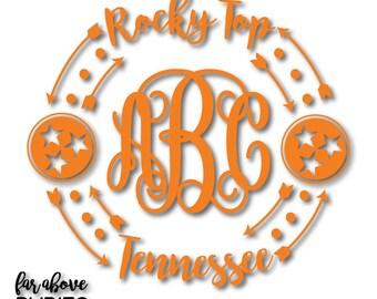 Rocky Top TennesseeTri-star Monogram Frame Arrows (monogram NOT included) - SVG, DXF, eps, png, jpg digital cut file for Silhouette Cricut