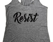 RESIST Political Tank Top - Tri-Blend Fitness Tank - (Available in sizes S, M, L)