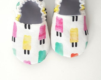 Baby Shoes, Baby Moccasins, Childrens Indoor Shoes, Popsicles