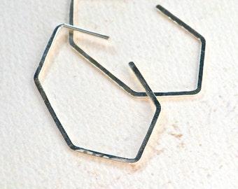Buoy Earrings - hammered silver hoop earrings, geometric hoop earrings, crystal hoop earring, everyday silver hoops, crystal silhouette hoop