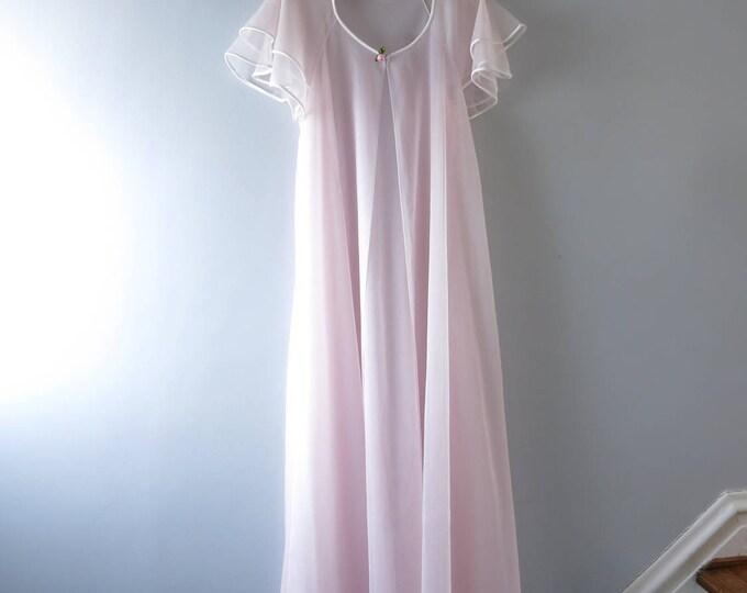 1960s Palest Pink Sheer Chiffon Peignoir M