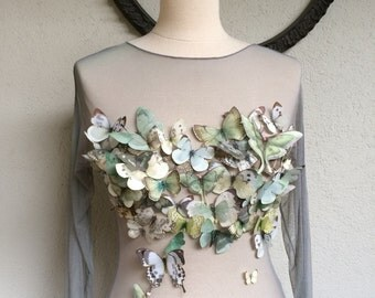Capolavoro - Handmade Women Shirt with Cotton and Silk Organza Butterflies and Moths - One of a Kind