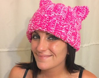 Pussy hat, Pink cat hat, Cat Hat, Gray Cat Hat, Cat hats, Pussy Hat Project, Birthday gift ideas, black cat hat,