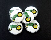 """6 SMALL Green Tractor Buttons.  5/8"""" or 15 mm handmade buttons. Children's Button Sewing Supplies."""