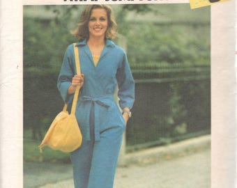 Butterick 5240  1970s Misses Wrapped Jumpsuit Pattern  Womens Vintage Sewing Pattern Size 10 Bust 32 UNCUT