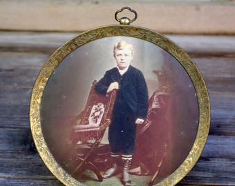 Antique Tintype Photograph in Elegant Gold Round Frame