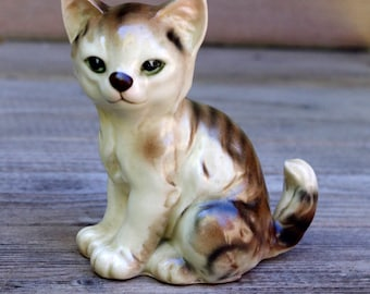 Vintage Kitten Tabby Cat Figurine Porcelain