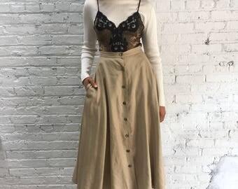 vintage Anne Klein natural linen midi skirt / a line beige high waist skirt / minimalist pocket skirt