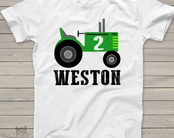 tractor birthday boy shirt  - tractor and age personalized with name for any age MBD-010