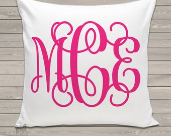 monogram throw pillow and pillowcase made to match bedroom colors custom girls pillow PIL-045
