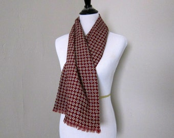 Vintage Men's Scarf, 1950s Wool Scarf in Maroon Block Print Fabric from Finchley New York Chicago, Terrific for Upcycling to a New Project!