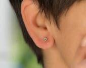 Tiny Evil Eye Earrings Handmade Solid Gold Earrings Round evil eye Blue Dainty solid 14k solid Gold Evil Eye post earrings gift for her