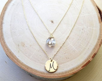 Custom Birthstone & Initial necklace, Personalized Layering necklace set, gemstone jewelry, Two necklace set, Otis B, white topaz, April