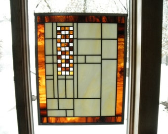 Medium Prairie Style Stained Glass Panel