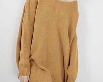 OVERSIZED knit Woman sweater Mustard pullover wool sweater
