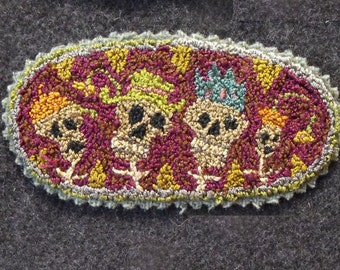 Skulls Pattern for Punchneedle Embroidery//Day Of The Dead//Boneheadz pattern on weavers cloth