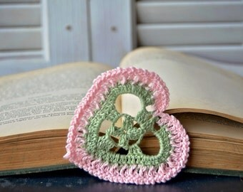 Handcrafted Heart Shaped Bookmark Green and Pink Handmade Crocheted Heart for Valentines