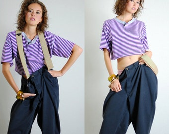 Striped Crop Tee Vintage 90s Purple and Gray Striped Hip Hop Urban Crop T Shirt  (os)