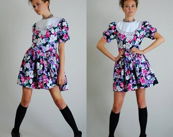 Floral Mini Dress Vintage 80s Black Floral Lace Drop Waist Boho Indie Mini Dress (s)
