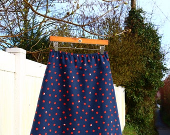 A Line Skirt, Apple Skirt, Cotton and Steel, Navy Blue, Simple A-line, Custom made in all sizes, and lengths