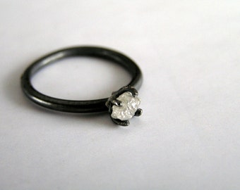 Raw Diamond Engagement Ring, Rough Diamond Ring in Sterling Silver, Uncut Diamond Ring