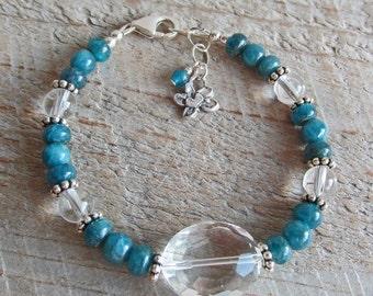 Peacock Blue Apatite Clear Faceted Quartz Crystal Healing Gemstone Bracelet
