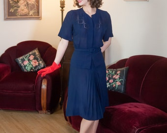 Vintage 1940s Dress Set - Darling Navy Blue Rayon 40s Lightweight Suit with Soutache and Fagot Embroidery