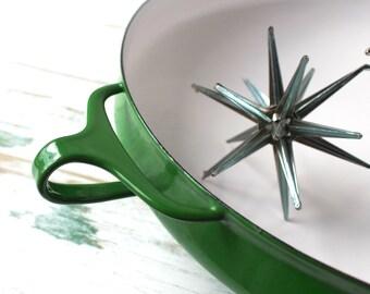Dansk Kobenstyle Paella Pan, Vintage Dansk Designs France, Large Dansk Green Enamel Pan, Jens Quistgaard Design