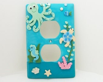 Under the Sea Light Switch Cover or Outlet Cover - Nautical Nursery - Children's Under the Sea Room Decor -Clay - Toggle or Rocker Cover