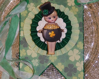 St. Pactrick's Day LUCKY Banner, with Kewpie Dolls and a Pot of Gold by Stacy Marie