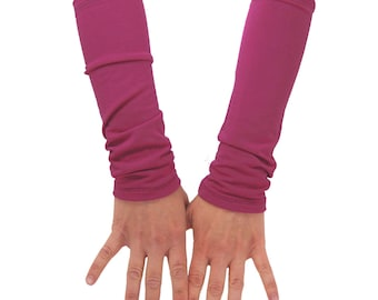 Arm Warmers in Fuchsia Magenta Pink - Bamboo Long Cuffs - Eco Friendly - LAST PAIR