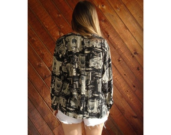 Slouchy Novelty Print Back Button Blouse - Vintage 90s - M