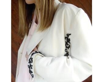 Embellished Ivory White Blazer Jacket - Vintage 80s/90s - M