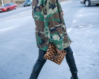 Camo Jacket WINTER Vintage Army Jacket Unisex Military Issue THICK Double Lined Winter Coat All Sizes