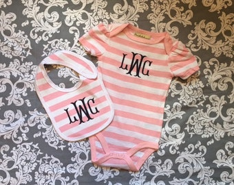 Monogrammed baby girl bodysuit and bib set.   2 pc baby girl bodysuit and bib set.  Baby girl gift set. 3-6 month.