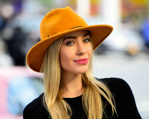 Wide Brimmed Fedora Hat Women's Hat Fall Fashion Fall Accessories Gold Fedora Hat Mustard Golden Yellow Hat Western Style Hat Custom Hat