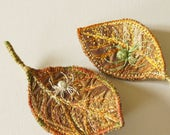Textile Leaves with Embroidered Spiders Set of Two Brooches Botanical Accessory