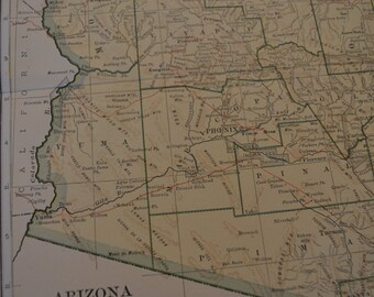 1912 State Map Arizona - Vintage Antique Map Great for Framing 100 Years Old